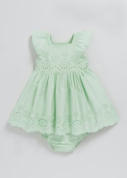 Girls Broderie Anglaise Dress (Tiny Baby-18mths)