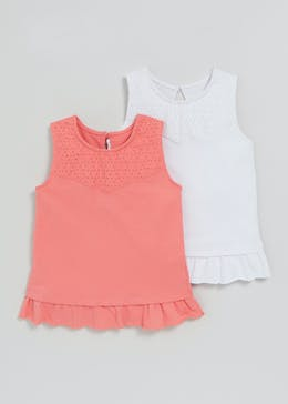 Girls 2 Pack Broderie Frill Vests (3mths-6yrs)