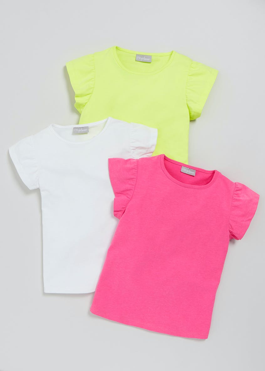 Girls 3 Pack Frill Stripe T-Shirts (4-13yrs)