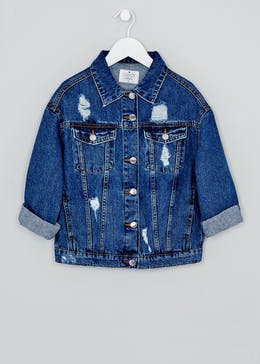 Girls Candy Couture Oversized Distressed Denim Jacket (9-16yrs)