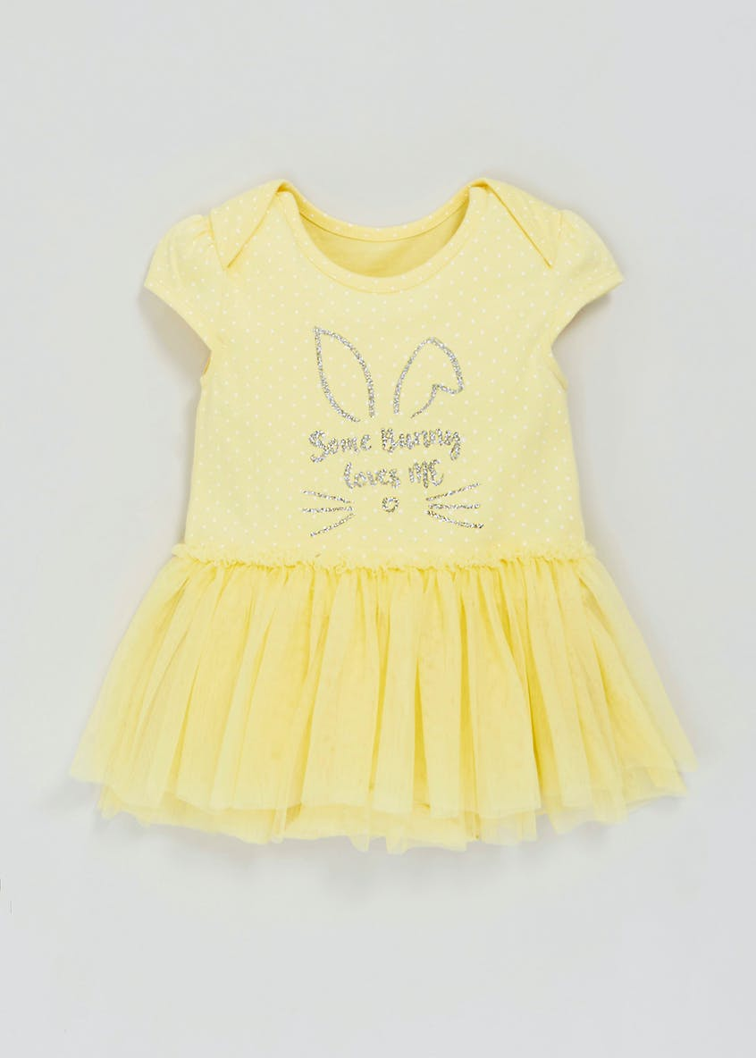 Girls Bunny Slogan Tutu Bodysuit (Tiny Baby-12mths)