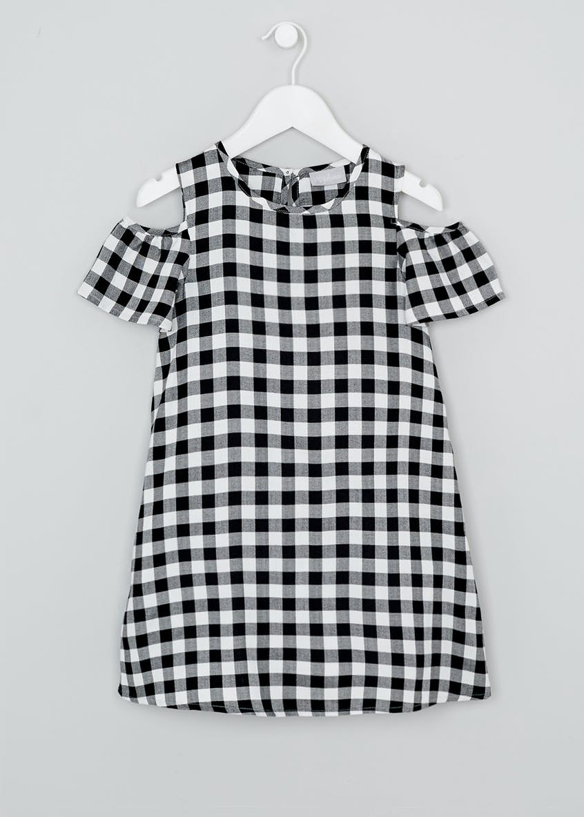 Girls Check Cold Shoulder Dress (4-13yrs)