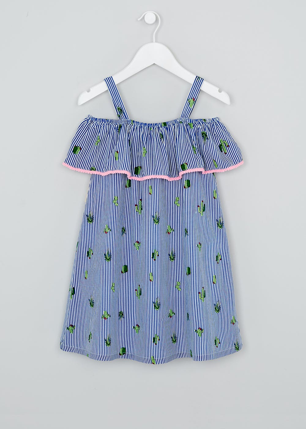 Girls Cactus Print Bardot Dress (4-13yrs) – Blue – Matalan