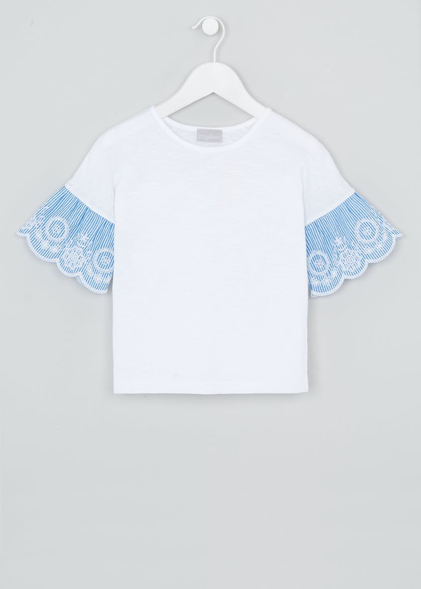 Girls Embroidered Woven Sleeve Top (4-13yrs)