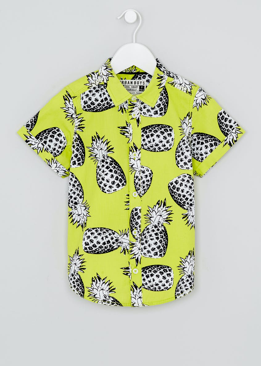 Boys Pineapple Short Sleeve Shirt (4-13yrs)