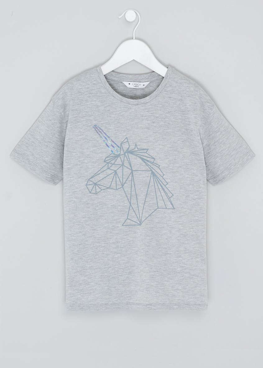 Girls Candy Couture Geometric Unicorn T-Shirt (9-16yrs)