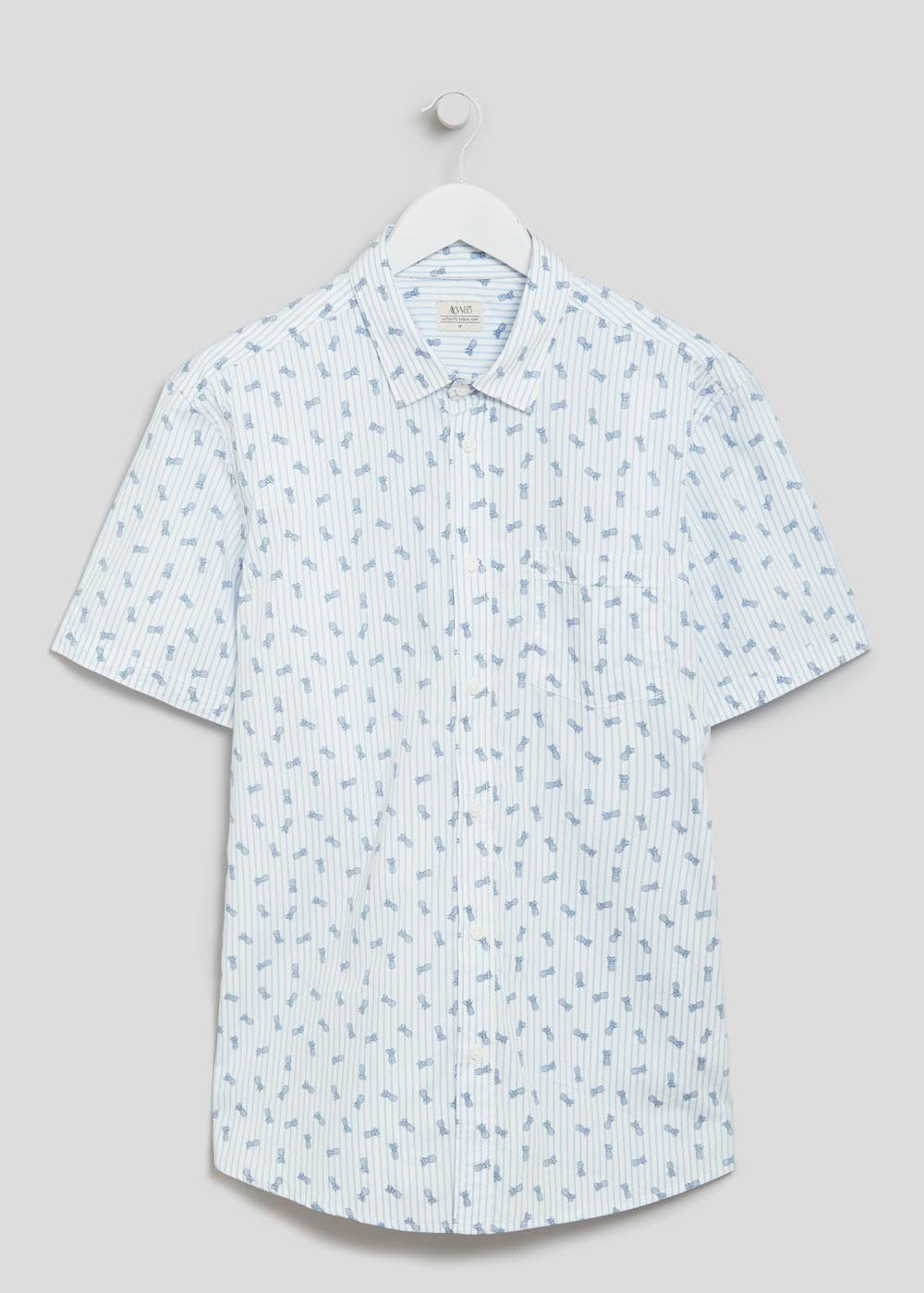 697596bf7bb Short Sleeve Pineapple Print Shirt – Blue – Matalan