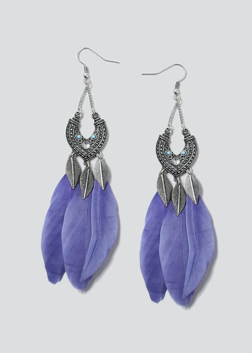 Feather and Leave Drop Earring