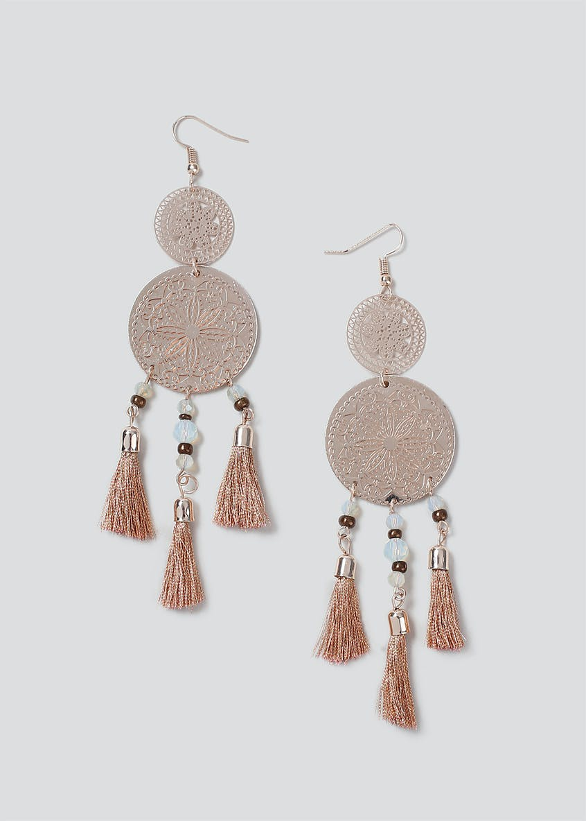 Fili Disc Tassel Earrings