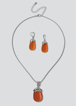Cats Eye Nacklace And Earring Pack