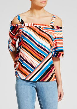 Stripe Ruffle Cold Shoulder Top