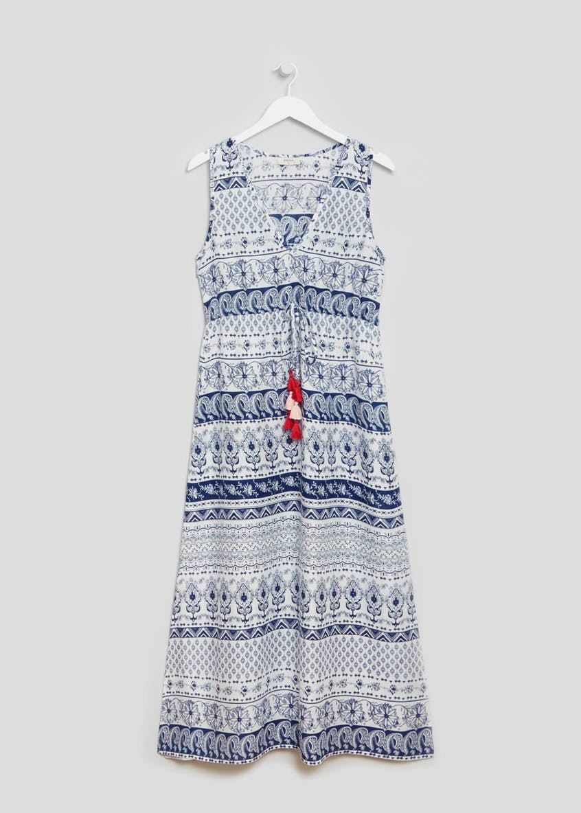 Tile Print Side Split Maxi Dress