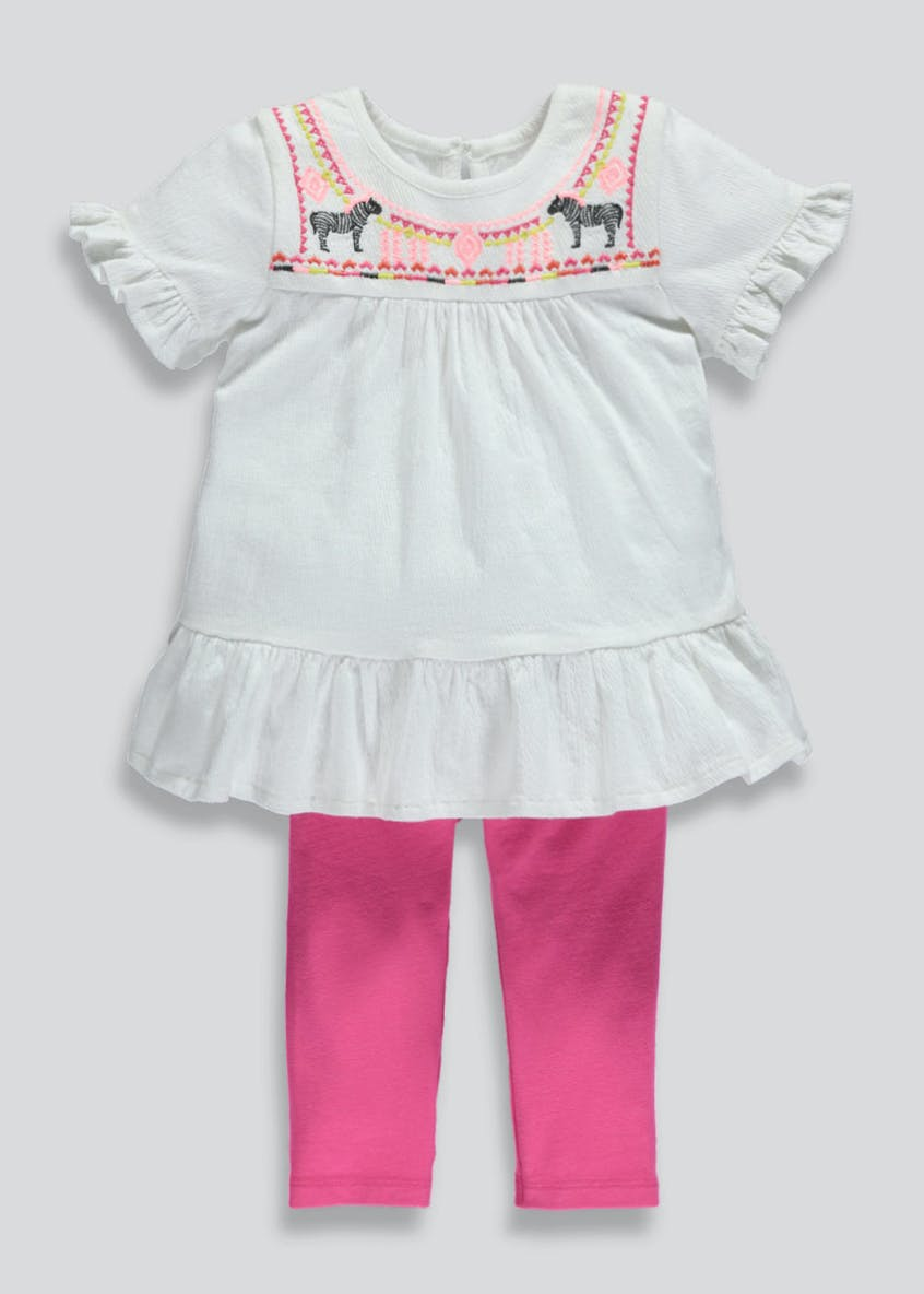 Girls Zebra Embroidered Tunic & Leggings Set (3mths-6yrs)
