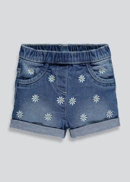 Girls Daisy Embroidered Denim Shorts (3mths-6yrs)