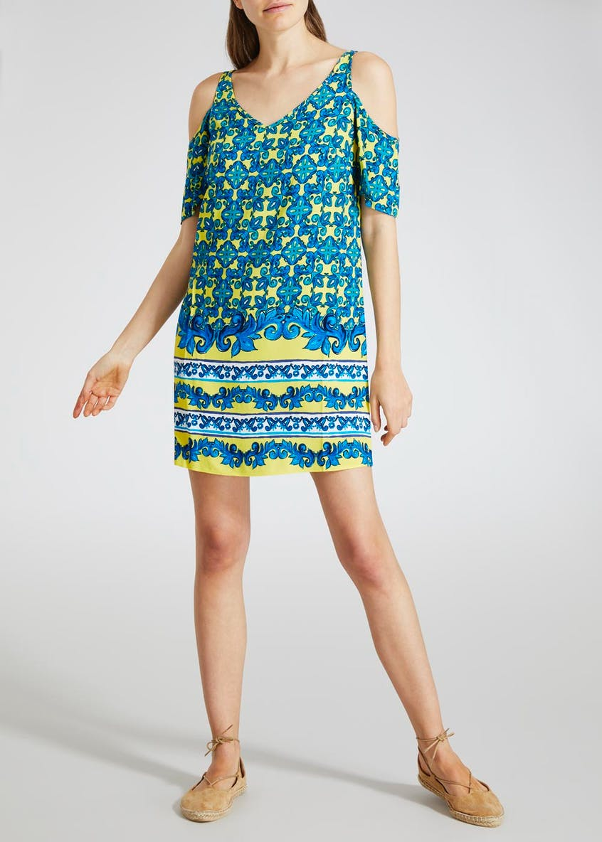 Border Print Cold Shoulder Dress