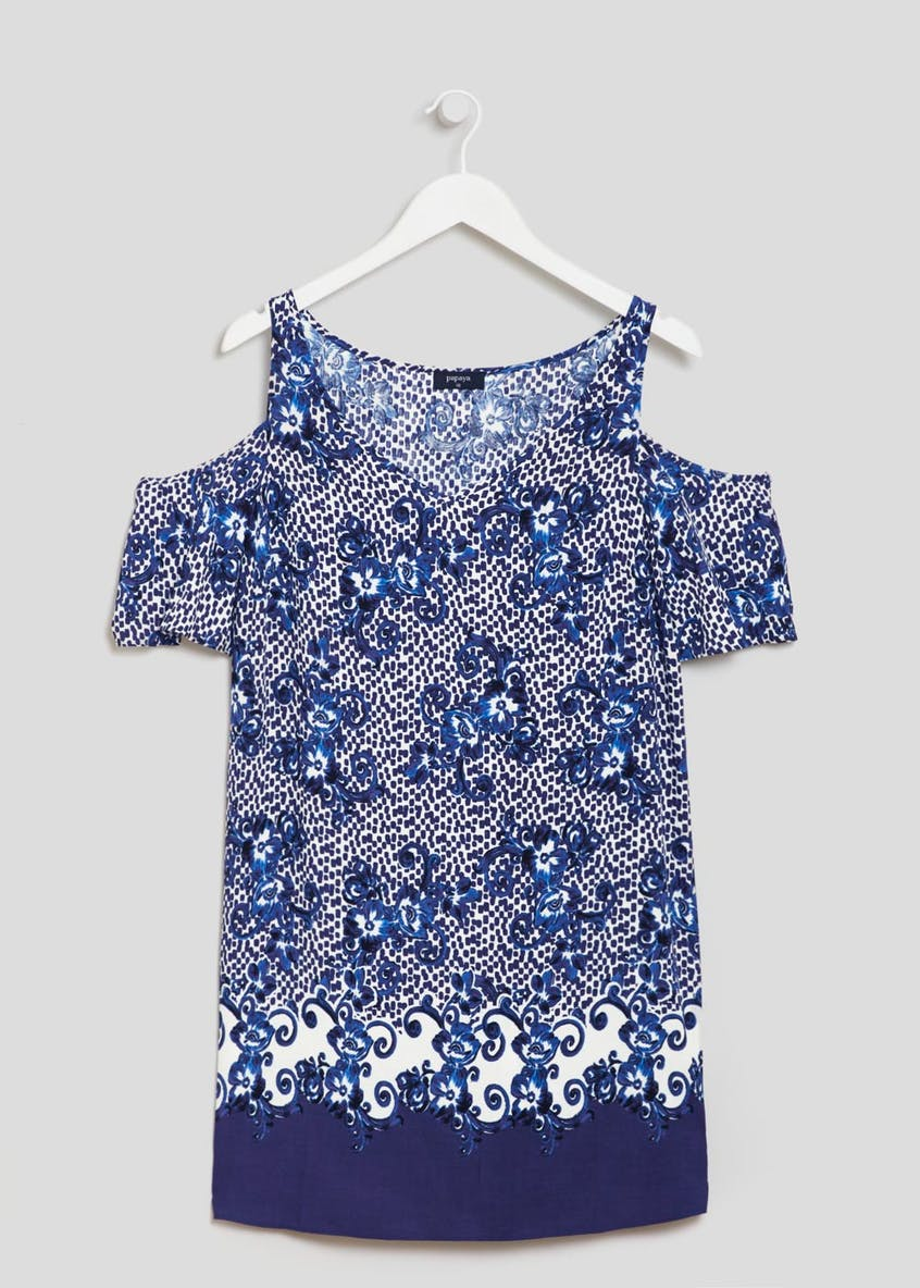 Border Print Viscose Cold Shoulder Dress