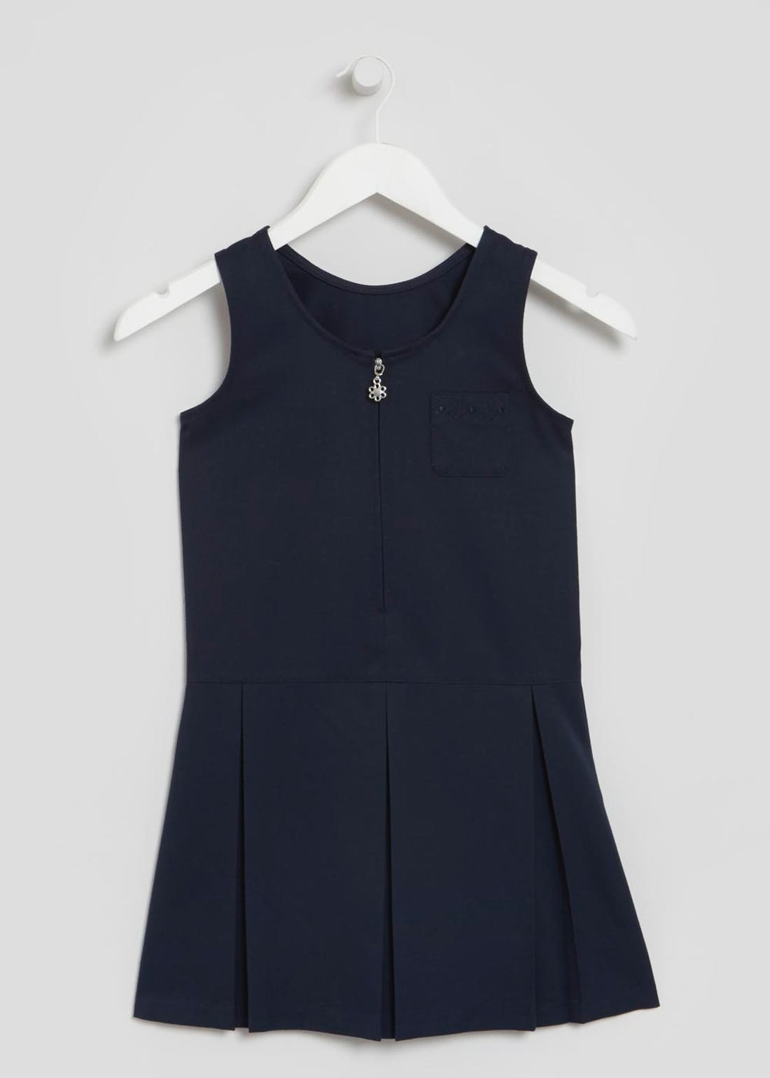 Girls Zip Front Pleated School Pinafore (3-9yrs)