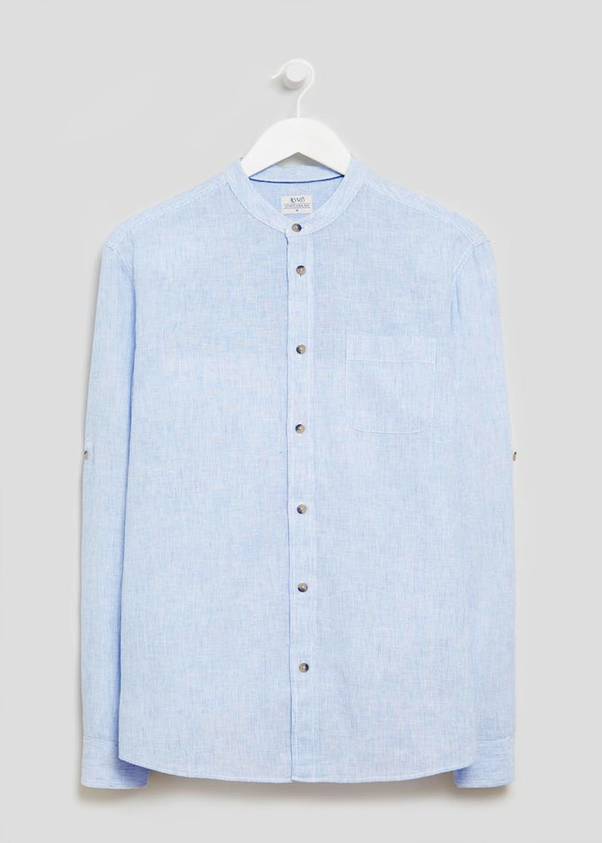 Big & Tall Grandad Collar Linen Shirt