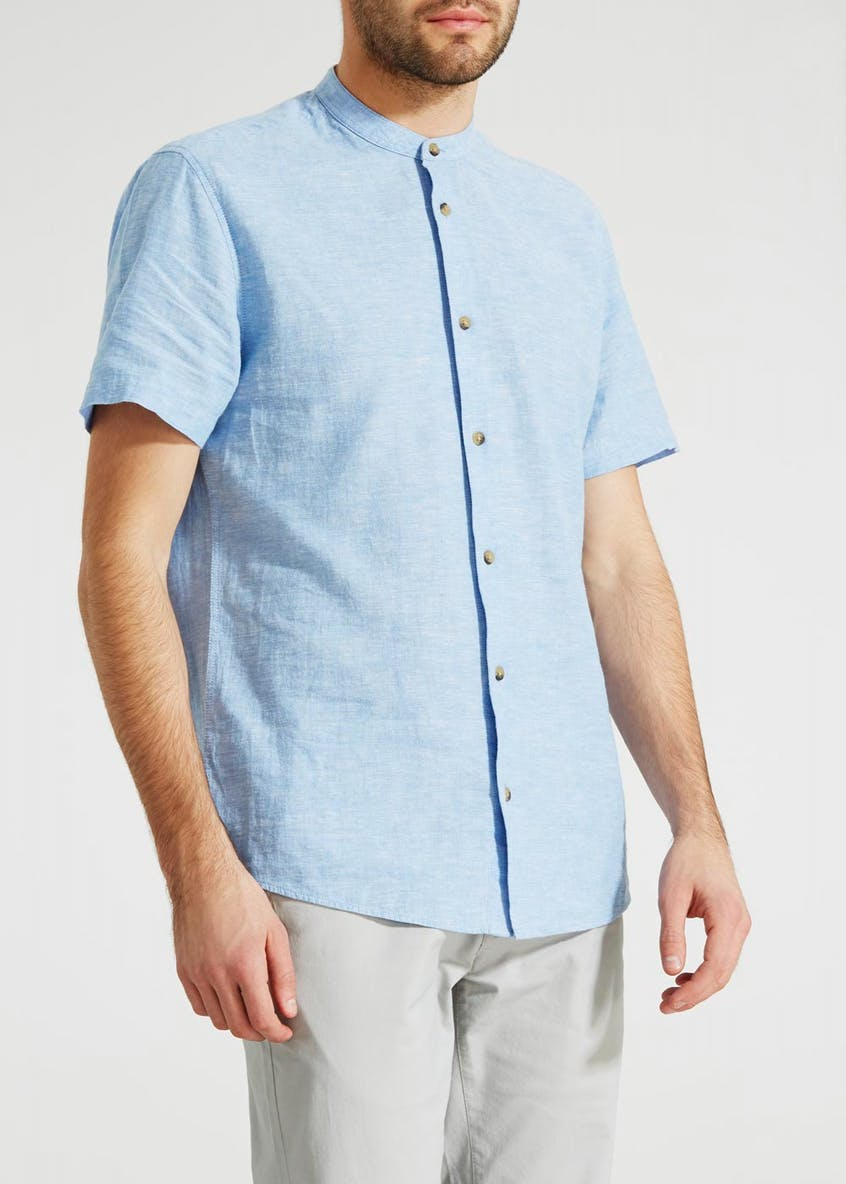Short Sleeve Grandad Collar Linen Shirt