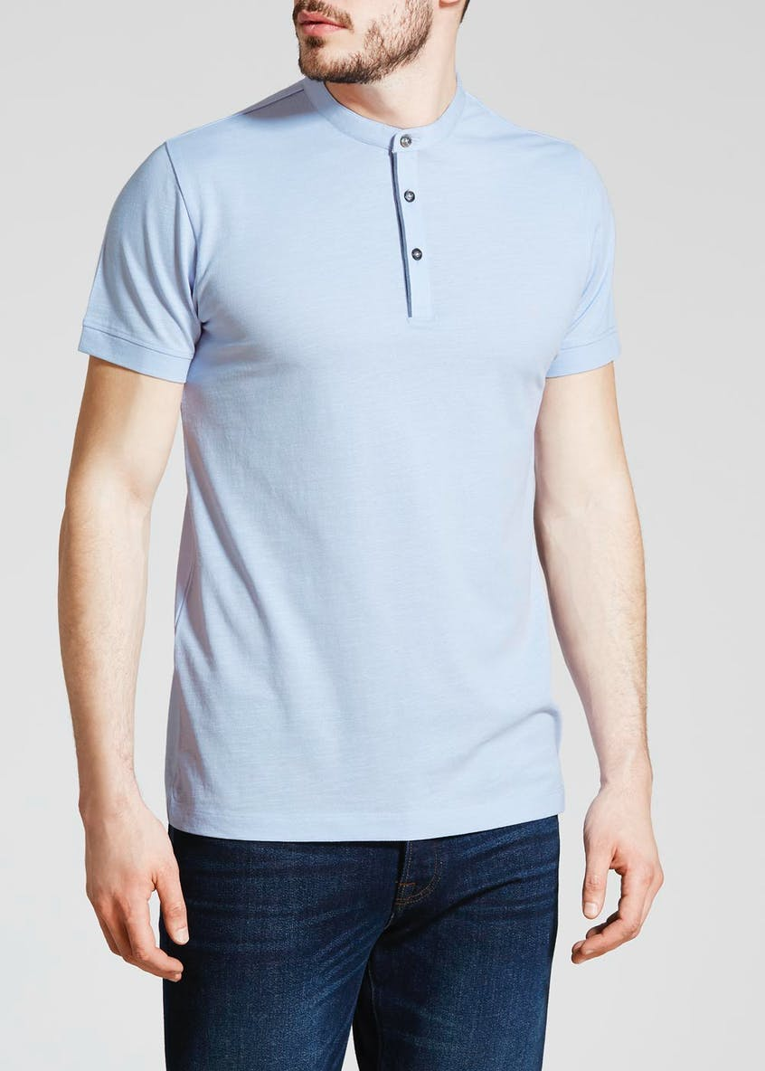 Grandad Collar Pique Polo Shirt