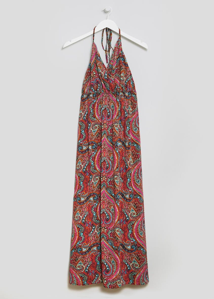 Printed Halterneck Side Split Maxi Dress