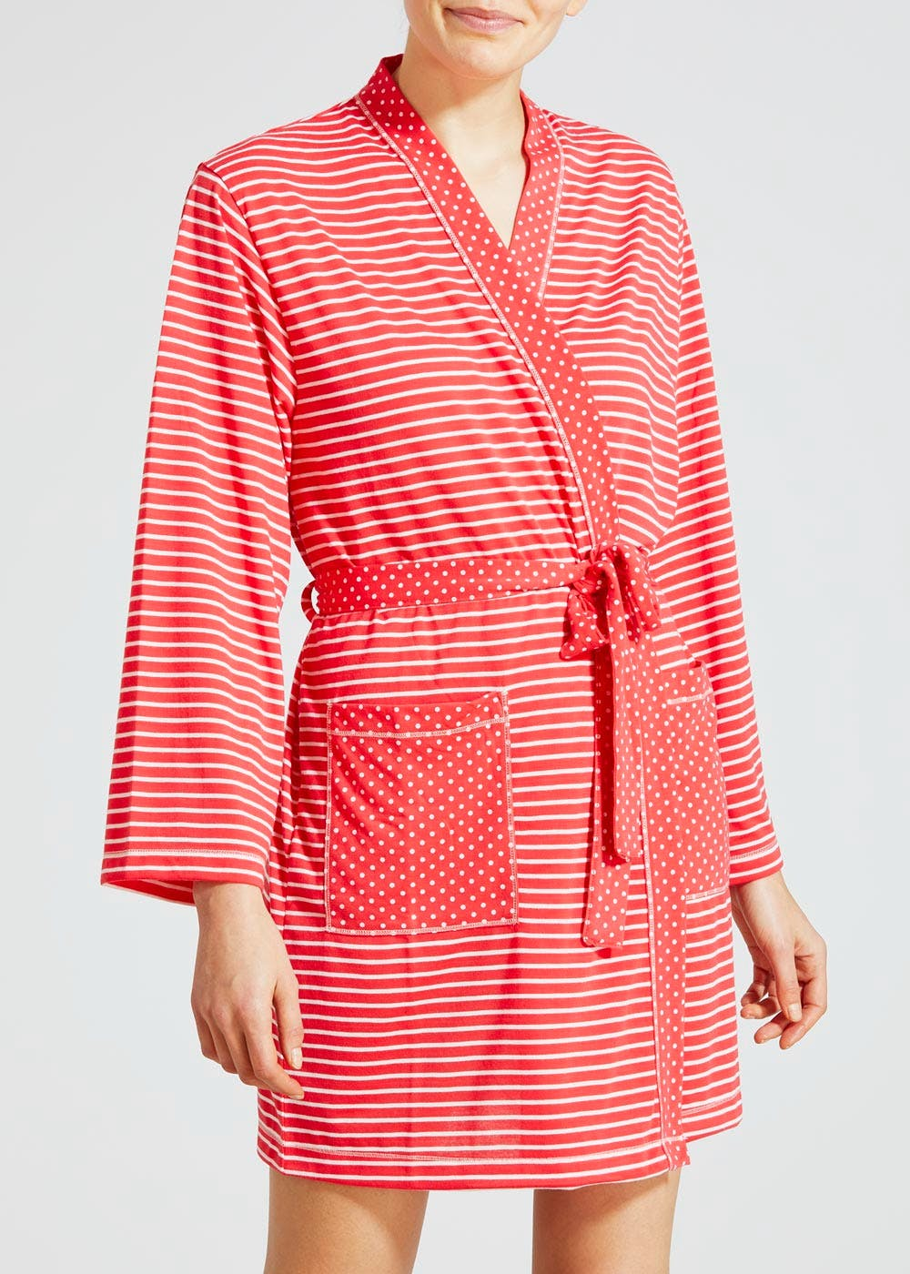 Spot & Stripe Short Dressing Gown – Coral – Matalan