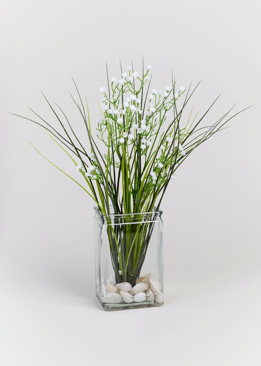 Floral & Grass Arrangement in Glass Vase (35cm x 9cm x 7cm)