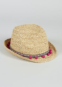 Girls Aztec Pom Pom Straw Trilby Hat (4-13yrs)