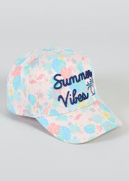 Girls Summer Vibes Slogan Cap (3-13yrs)