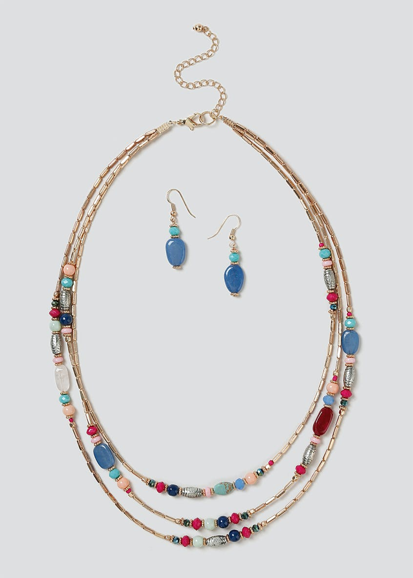 Mixed Bead Earring And Necklace