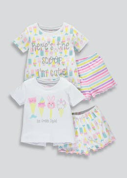 Girls 2 Pack Ice Lolly Short Pyjamas (9mths-5yrs)