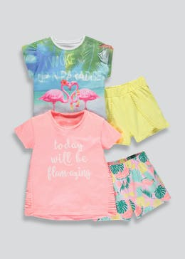 Girls 2 Pack Tropical Short Pyjamas (9mths-5yrs)