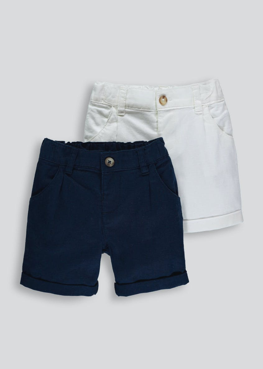 Boys 2 Pack Linen Shorts (6mths-6yrs)
