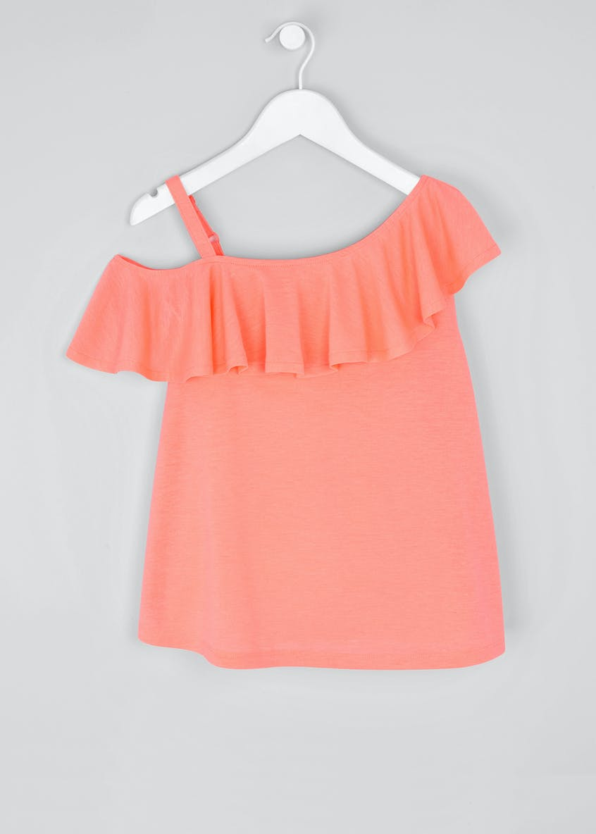 Girls Candy Couture Frill One Shoulder Top (9-16yrs)
