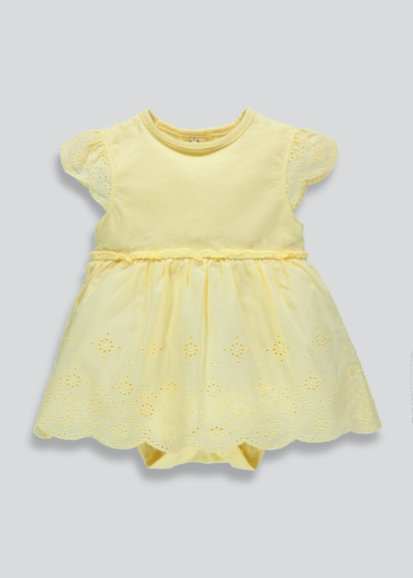 Girls Broderie Woven Skirt Bodysuit (Tiny Baby-9mths)
