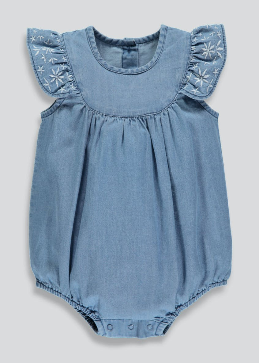 Girls Denim Embroidered Romper Playsuit (Newborn-18mths)