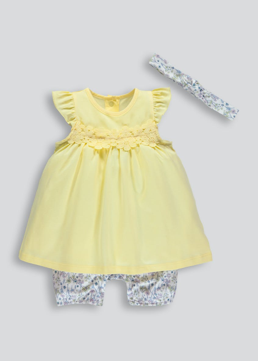 Girls Mock Dress Romper with Headband (Newborn-18mths)