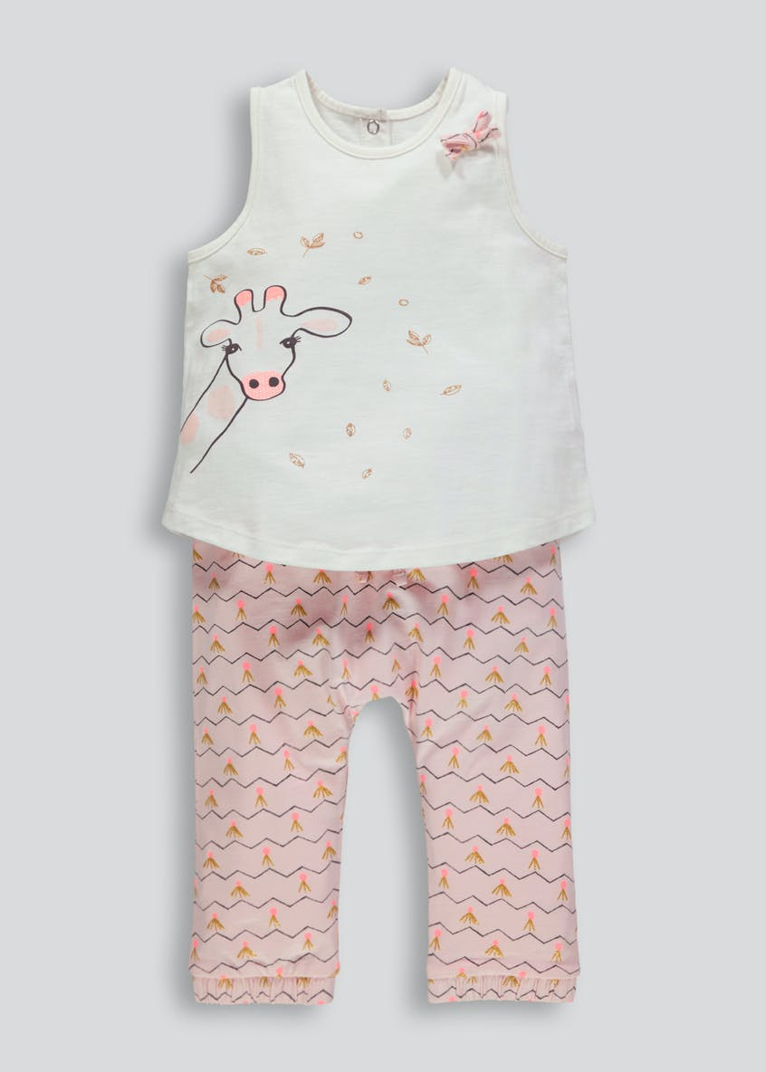 Girls Giraffe Top & Bottoms Set (Newborn-18mths)
