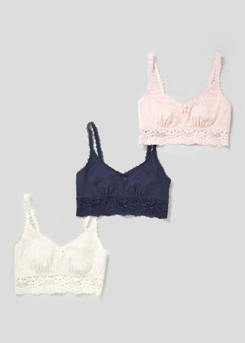 3 Pack Non-Wired Ribbed Longline Bralettes