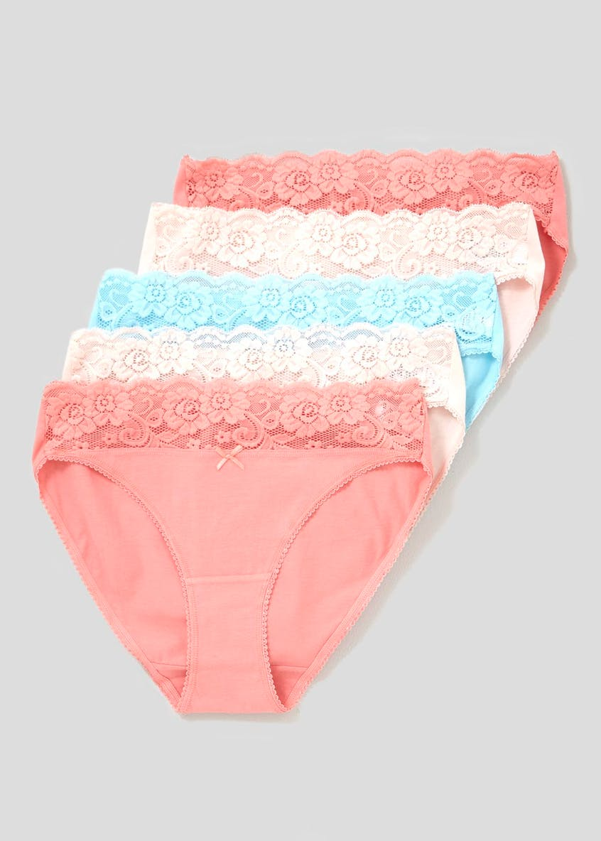 5 Lace Trim Pack High Leg Knickers