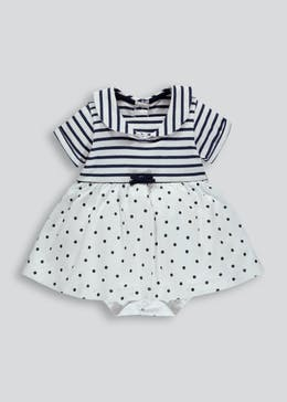 Girls Nautical Mock Dress Bodysuit (Newborn-23mths)