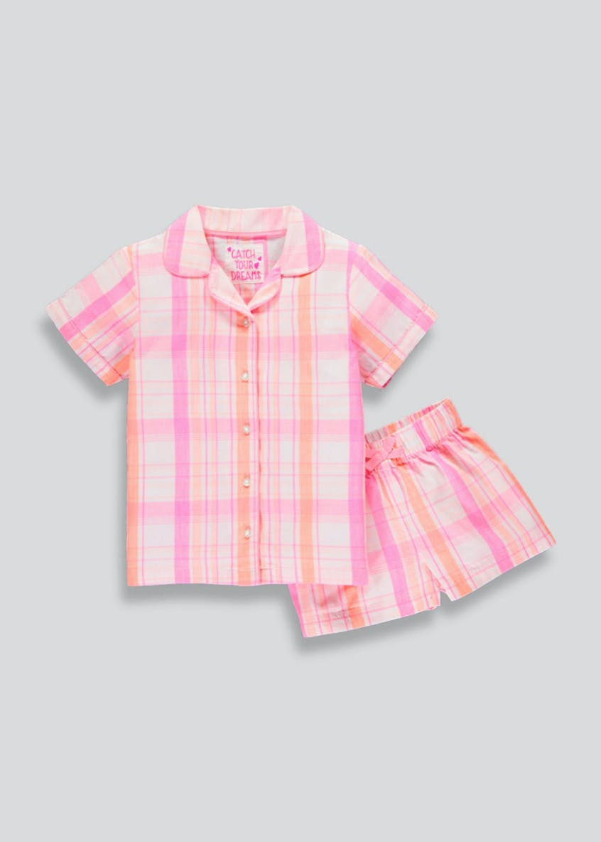 Girls Woven Check Pyjama Set (4-13yrs)