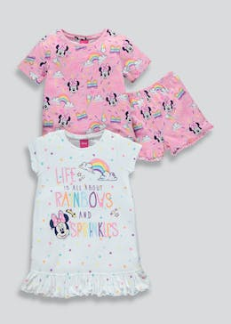 Kids 2 Pack Disney Minnie Mouse Pyjama & Nightie Set (3mths-4yrs)