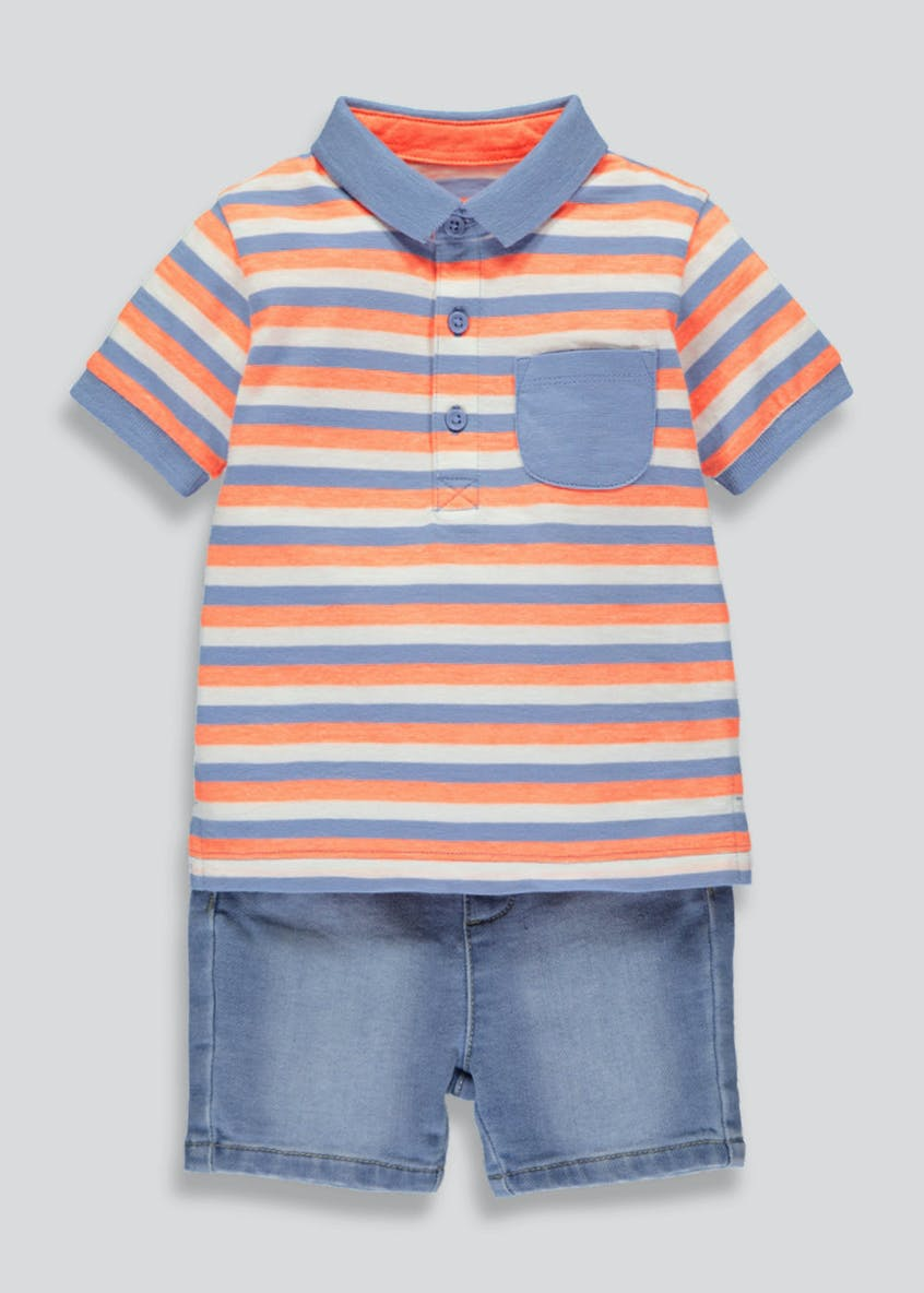 Boys Polo Shirt & Denim Shorts Set (Newborn-18mths)