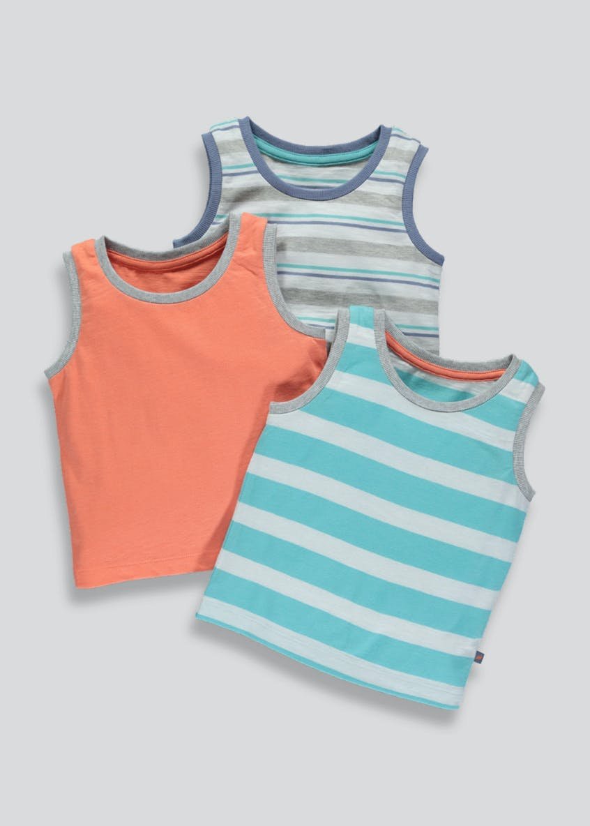Boys 3 Pack Vests (3mths-6yrs)