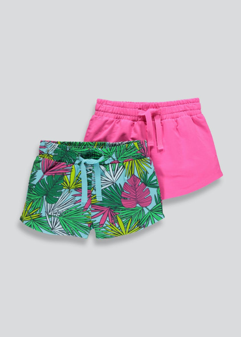 Girls 2 Pack Palm Print Shorts (4-13yrs)