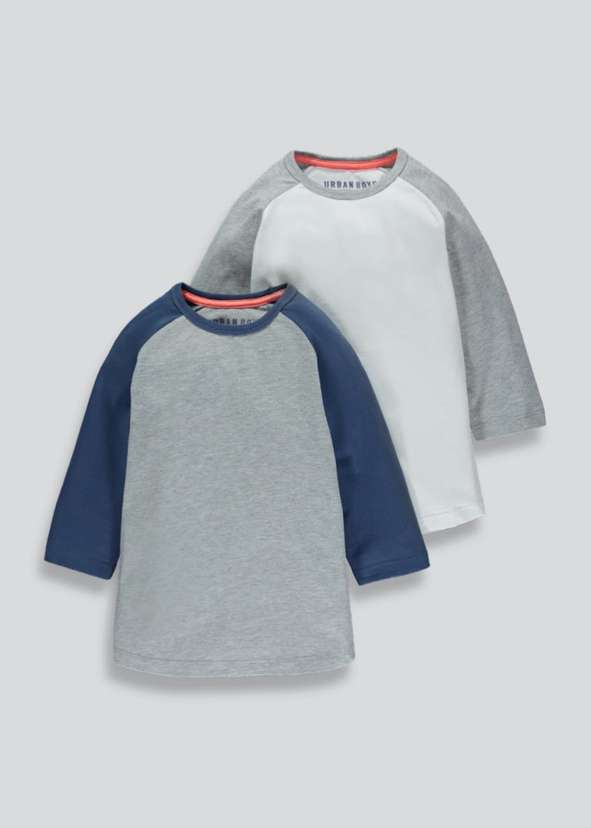Boys 2 Pack Raglan T-Shirts (4-13yrs)