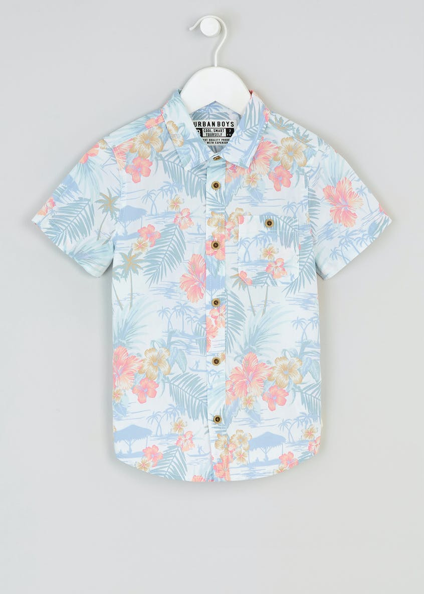 Boys Floral Short Sleeve Shirt (4-13yrs)