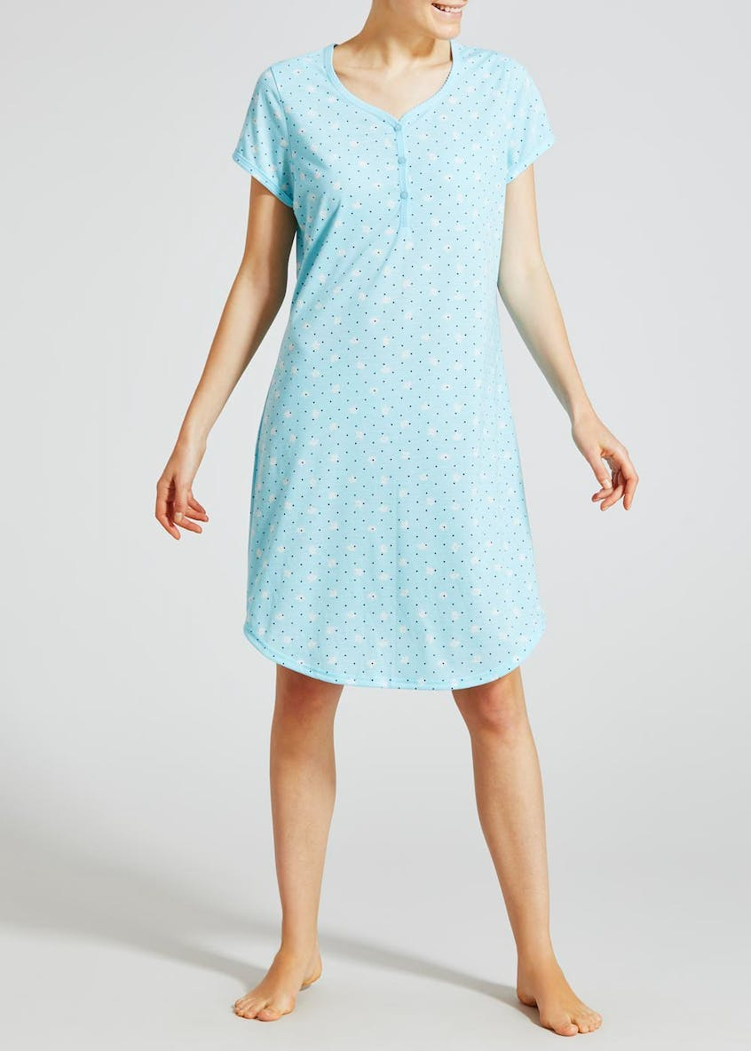 Floral Spot Button Nightie