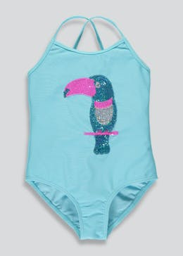 Girls Sequin Toucan Swimming Costume (4-13yrs)